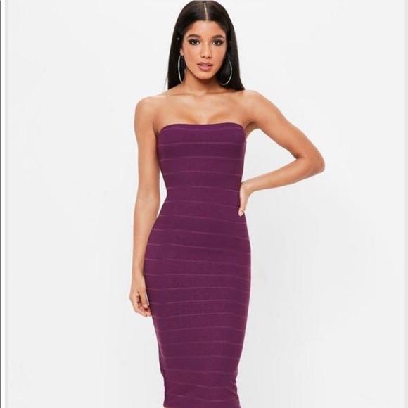 04f0b6b1401a Missguided Dresses   Purple Strapless Bandage Midi Dress   Poshmark